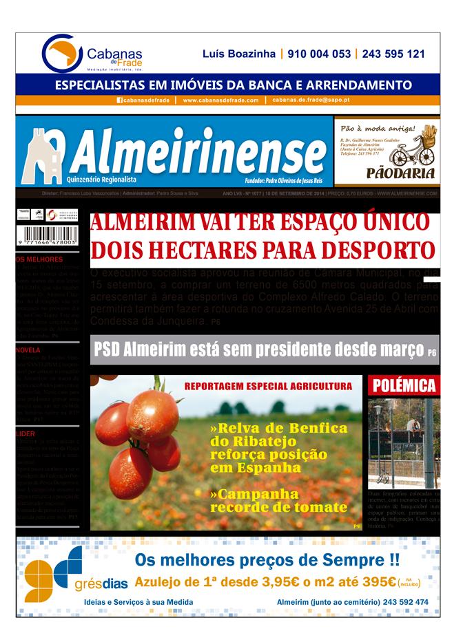 Edição de 15 de setembro de O Almeirinense já está nas bancas
