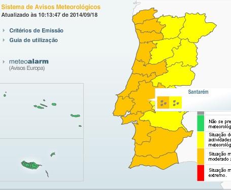 Continuação de mau tempo com aviso laranja para a região de Santarem